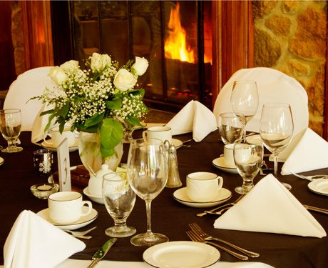 table setting with fireplace